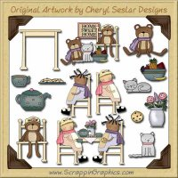 Wee Folks Tea Party Graphics Clip Art Download