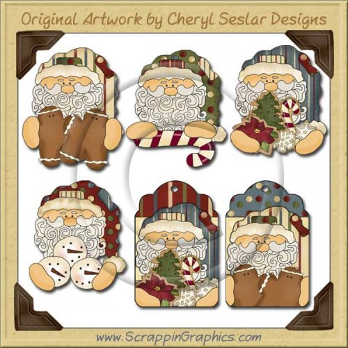 Folksy Santa Collection Graphics Clip Art Download