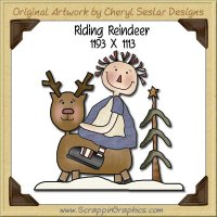 Riding Reindeer Single Graphics Clip Art Download