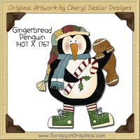 Gingerbread Penguin Single Clip Art Graphic Download