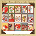 Vintage Valentines Collection Graphics Clip Art Download