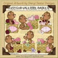 Fuzzy Cub Valentine Baskets Limited Pro Clip Art Graphics