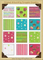 Sweet Cupcake Background Tiles Clip Art Graphics
