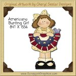 Americana Bunting Girl Single Clip Art Graphic Download