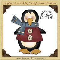 Winter Penguin Single Clip Art Graphic Download