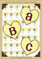 Yellow Candy Hearts Letters & Numbers Clip Art Graphics