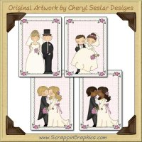 Just Married Card Sampler Collection Printable Craft Download