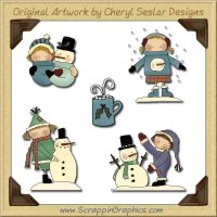Wee Folk Winter Collection Graphics Clip Art Download