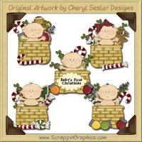 Baby Christmas Baskets Clip Art Download