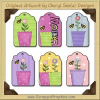 Flower Pot Tags Collection Printable Craft Download