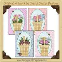 Flower Basket Card Sampler Collection Printable Craft Download