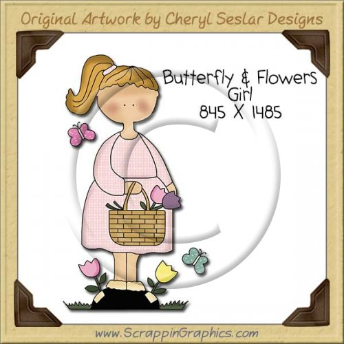 Butterfly & Flower Girl Single Clip Art Graphic Download