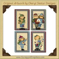Winter Fun Cards Sampler Collection Printable Craft Download