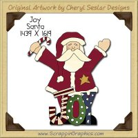 Joy Santa Single Clip Art Graphic Download