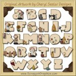 Country Time Alphabet & Numbers Clip Art Download
