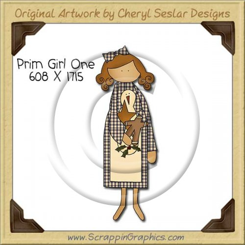 Prim Girl One Single Clip Art Graphic Download