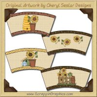 Sunflower Cup Covers Printable Craft Collection Graphics Clip Ar