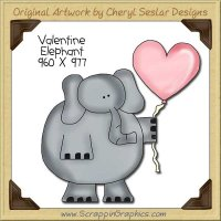Valentine Elephant Single Clip Art Graphic Download
