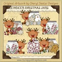Reindeer Christmas Jars Limited Pro Clip Art Graphics