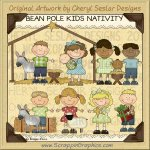 Bean Pole Kids Nativity Limited Pro Clip Art Graphics