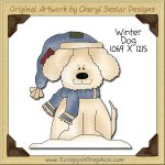 Winter Dog Single Clip Art Graphic Download