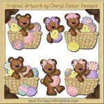 Raggedy Bears Easter Basket Graphics Clip Art Download