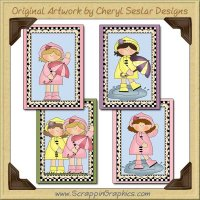 Raincoat Girls Sampler Card Collection Printable Craft Download