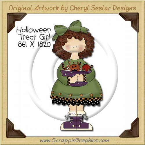 Halloween Treat Girl Single Clip Art Graphic Download