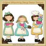 Kitchen Gals Collection Graphics Clip Art Download