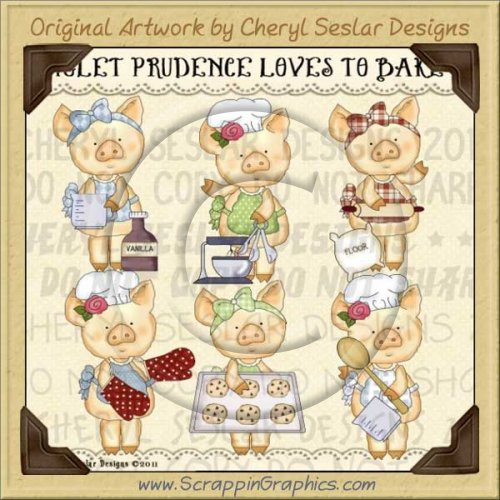 Piglet Prudence Loves To Bake Limited Pro Clip Art Graphics