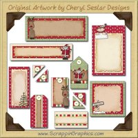 North Pole Friends Journaling Delights Digital Scrapbooking Graphics Clip Art Download
