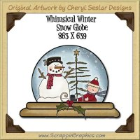 Whimsical Winter Snow Globe Single Graphics Clip Art Download