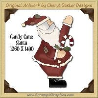 Candy Cane Santa Single Graphics Clip Art Download