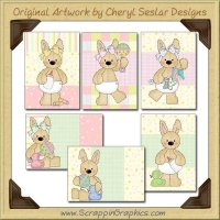 Stuffed Baby Bunny Cards Collection Printable Craft Download