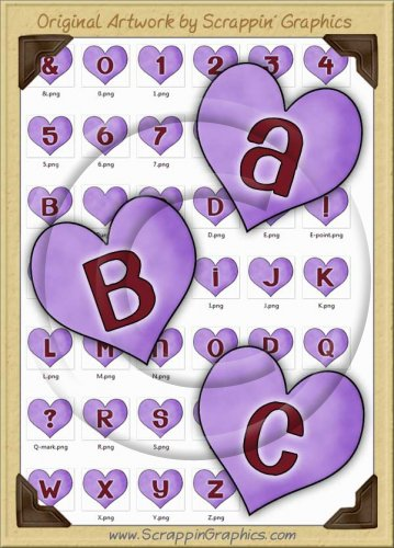Purple Candy Hearts Letters & Numbers Clip Art Graphics