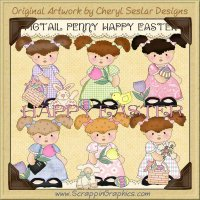Pigtail Penny Happy Easters Limited Pro Clip Art Graphics